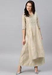 Unstitched Ivory Ladies Chanderi Silk Suits, Machine wash