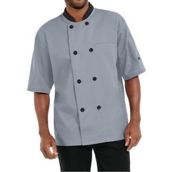 Chef Coat Short Sleeve Grey Color  With Black Trimming
