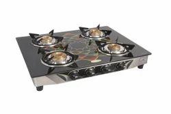 Surya Magic Stainless steel and brass burner Glass Top Digital Four Burner, 4B Glass top digital