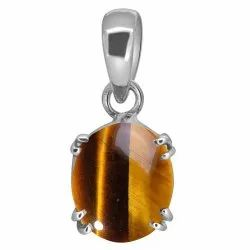 Tiger Eye Stone Pendant Silver Gemstone