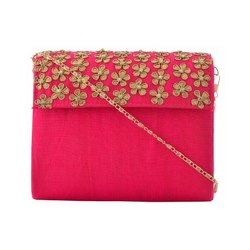 Azzra Pink Zardosi Fabric Wooden Clutch