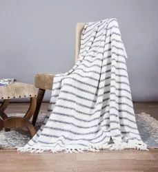 Blue Striped Cotton Mud Cloth Sofa Throw