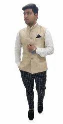 Sleeveless Nehru Plain Jacket Biege Designer Waistcoat, Size: 34 To 44