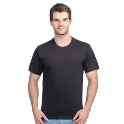 Half Sleeve Black Mens Lycra Round Neck Plain T Shirts, Size: S-XXL