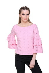 Women Cotton Bell Sleeve Top, Size: S to XXL