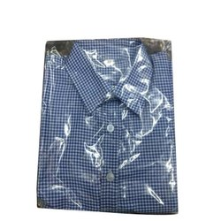 Summer Cotton School Uniform Check Shirts, Size: S-XXL, Packaging Type: Packet