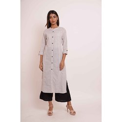 Princess Cut White Pattern Kurti with Palazzo