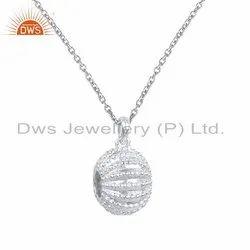Plain Silver Ocean Charm Designer Chain Pendant