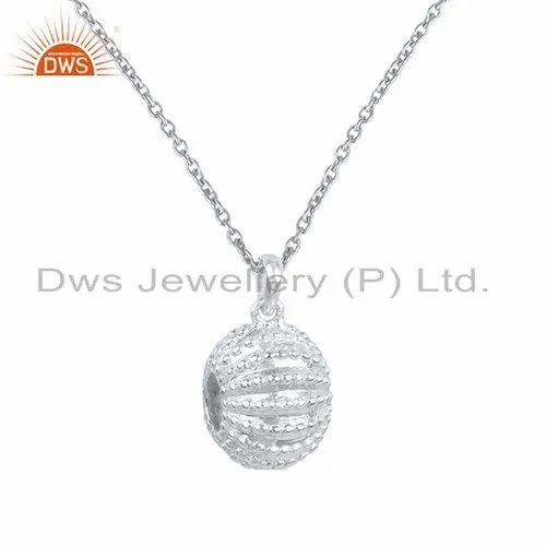 f83e0c23c89d7a Girls 925 Fine Silver Design Plain Silver Chain Pendant, Rs 1468 ...
