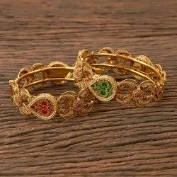 Ruby Green Antique Openable Bangles with Gold Plating 202685