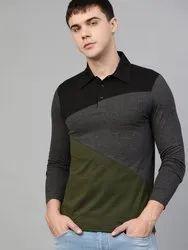 Cotton Plain Mens Collar Neck T Shirt, Size: S to XXL