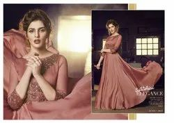 Luxurious Satin Embroidered Stitched Party Wear Gowns
