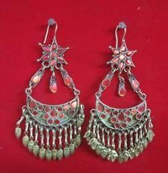 Naeemkamaal NK Handmade Afghani Tribal Earring Antique German Silver, Size: Free