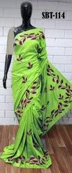 Beautiful Leaf Embroidery Work Saree