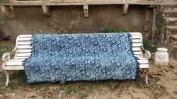 Natural Indigo Block Jaipur Printed Hand Woven Paddle Loom Rugs