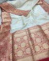 Banarasi Pure Handloom Kora Silk Saree, 6.3 M (with Blouse Piece)
