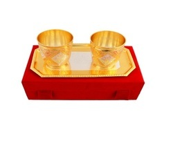 Antique Silver Gold Plated Brass Glass Set PCSG00165