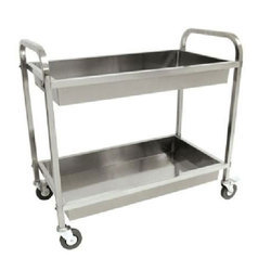 Silver Stainless Steel Two Shelf SS Trolley