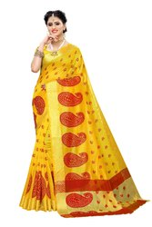 Banarasi Rich Pallu Party Wear Yellow Saree With Blouse Piece