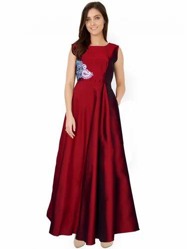 c47782cd8 Georgette Full Sleeves Designer Maroon Long Gown