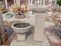 Beige Sandstone Garden Water Fountain