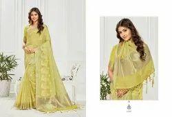 Cotton Party Wear Designer Saree, Without blouse piece, 6 m (with blouse piece)