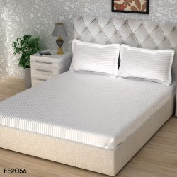 Story@Home White Hotel Satin Stripe Bed Sheet 300 TC, 1 Bedsheet With 2 Pillow Cover, Size: 270 Cm X 270 Cm