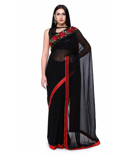 3402798c0f Black Georgette Saree With Sequence Blouse, With Blouse Piece, Rs ...