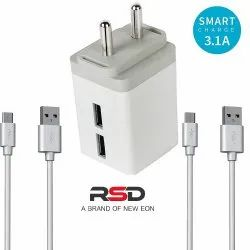 RSD White 3.0 AMP DUAL USB CHARGER