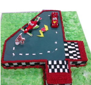 3D Number 4 Mc Queen Theme Cake