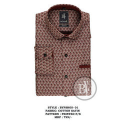 Be YourSelf Mens Casual Cotton Satin Printed Shirt