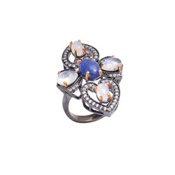 Pave Zircon Tanzanite and Moon Stone Ring