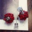 Alloy Beautiful Red Flower Korean Earrings