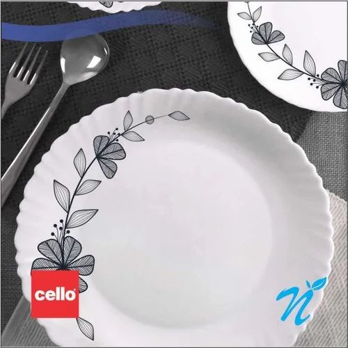 White Opalware Cello Dazzle Dinner Set 18 Pcs