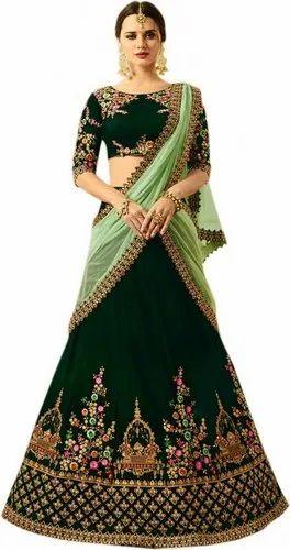 df56ab5a97 Taffeta Satin New Latest Bollywood Designer Tajmahel Green Embroidered  Lehenga Choli