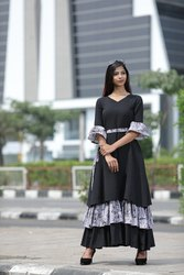 Designer Black Sibori Three Layers Long Kurtis (full stitch)