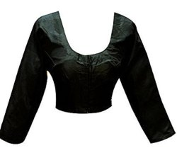 Black Plain Indian traditional sari saree Raw silk Blouse