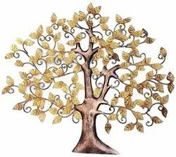 Metal Wall Hangings Golden IRON Wall Hanging Tree, for Decoration