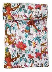 Bird Printed Kantha Bedspread