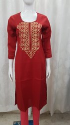 Embroidered Long Length Kurti
