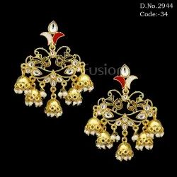 Designer Chandbali Kundan Earrings