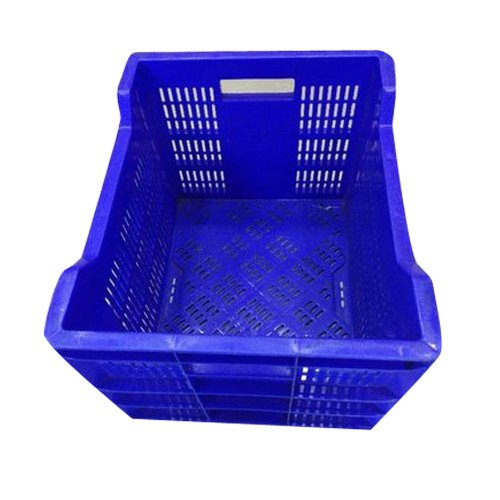 Blue Rectangular Perforated Plastic Mesh Crate, Capacity: 20 To 40 Litre