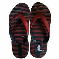 Red, Black Daily Wear Mens Striped Rubber Slipper, Size: 6-9