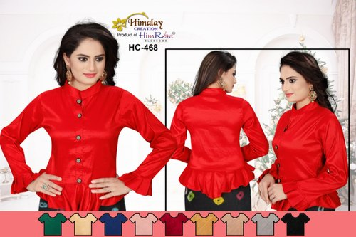 Red Plain Banarasi Silk Ready Made Blouse