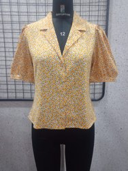 Ladies Yellow Collared Printed Shirt
