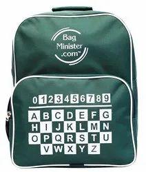 Polyester Plain Kids Bag with Alphabet Print