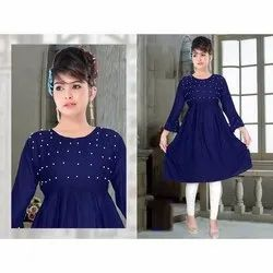 Party Wear Blue Ladies Full Sleeve Rayon Kurti, Size: L-XXL