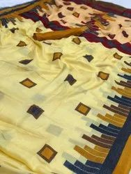4 Colours Printed Beautiful Handloom Linen Juth Saree, With Blouse Piece