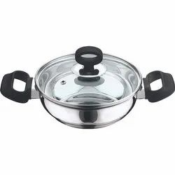 Vinod Stainless Steel Deluxe Kadai With Glass Lid, For Home, Size: 18 Cm