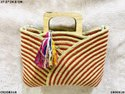 Designer Dari Cotton Handbag With Wooden Handle